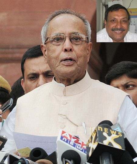 India's 13th President Pranab Mukherjee (Inset) Pradyut Guha, Mukherjee's personal assistant since the last eight years