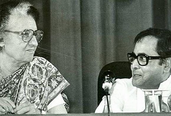 Indira Gandhi, then prime minister of India, with Pranab Mukherjee, then one of her Cabinet ministers