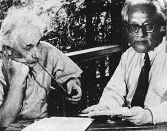 File photo of renowned Indian scientist Prof Satyendranath Bose with Albert Einstein