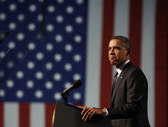 U S President Barack Obama speaks at the 113th VFW National Convention in Reno