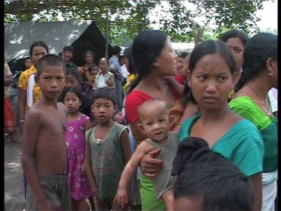 Assam's riot affected Bodo tribal refugees in a makeshift camp