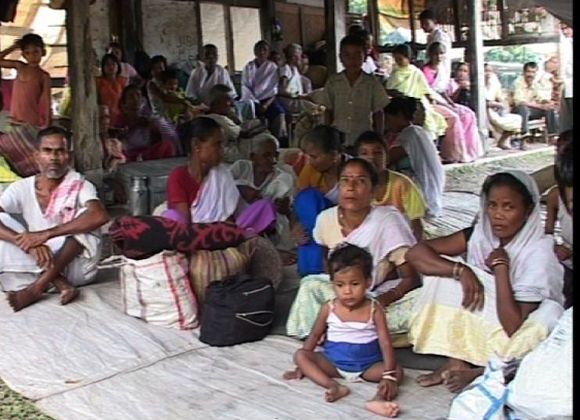 Assam's riot affected Muslim refugees in a school playground