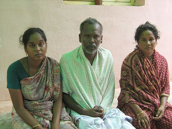 (left to right): Sekar's sister Ramalakshmi, father Arumugam and mother Nagavalli