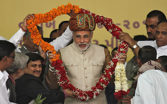 Gujarat Chief Minister Narendra Modi at a rally