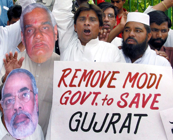 A protest against the Modi government in Gujarat, 2002