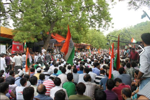 Protestors at Jantar Mantar in New Delhi