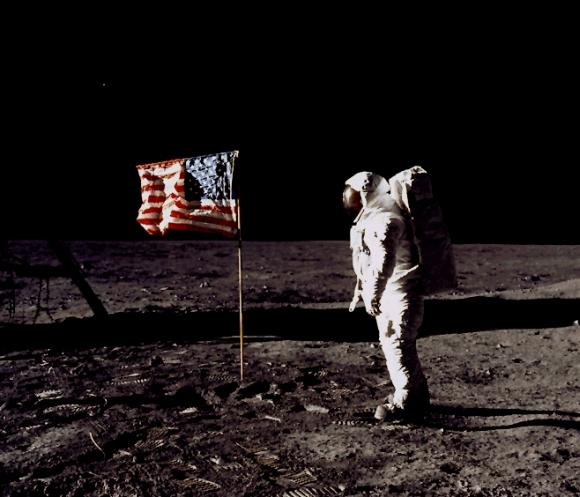 Man's mark on the moon still flying high