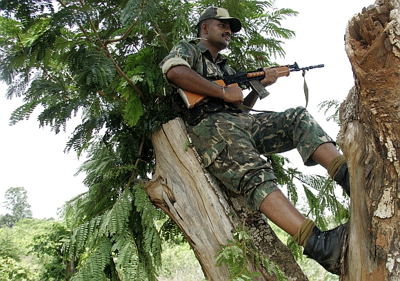 A paramilitary soldier stands vigil from a tree at Jhitka near Lalgarh in the West Midnapore district, some 170 km west of Kolkata