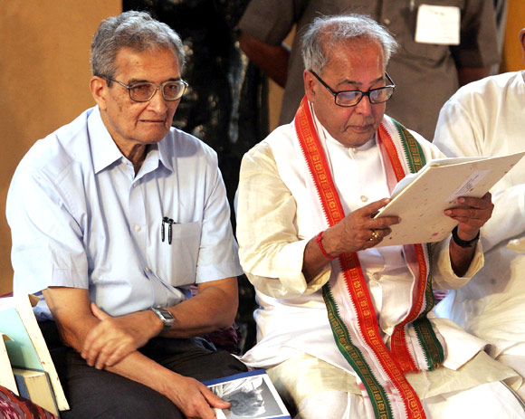 Amartya Sen with former Finance Minister and President Pranab Mukherjee