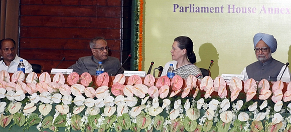 Defence Minister A K Antony, Finance Minister Pranab Mukherjee, Congress President Sonia Gandhi and Prime Minister Dr Manmohan Singh at the CWC meet