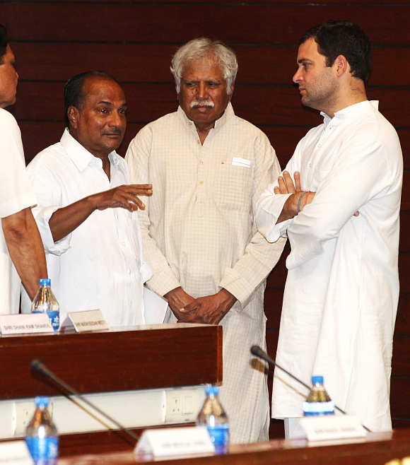Defence Minister A K Antony with All-India Congress Committee general secretary Rahul Gandhi