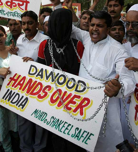 Protests in New Delhi against Dawood Ibrahim