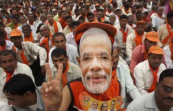 A supporter of Modi at a rally
