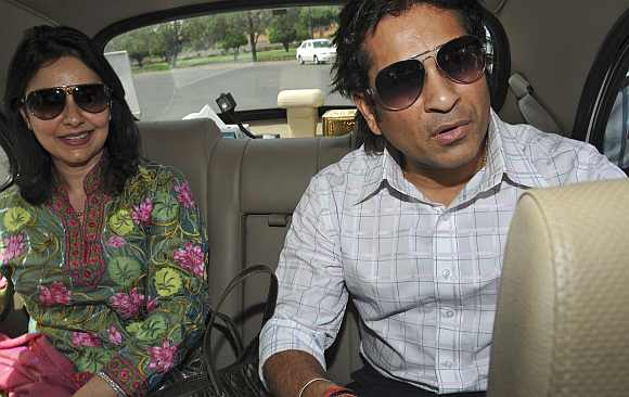Tendulkar with his wife Anjali at the Parliament