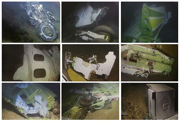 A combo image shows underwater photos of parts of the Ethiopian Airlines plane which crashed into the Mediterranean sea on January 25, 2010, during a news conference held by Lebanon's Minister of Public Works and Transport Ghazi Aridi at Beirut international airport, February 11, 2010.