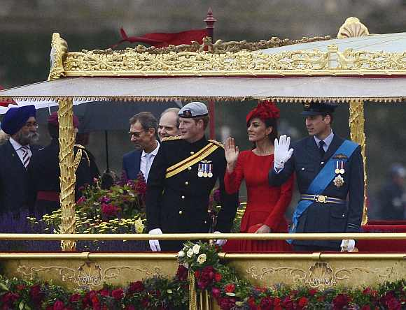 Britain's Prince William and Catherine, Duchess of Cambridge board the Spirit of Chartwell for Queen Elizabeth's Diamond Jubilee River Pageant on the River Thames, in London