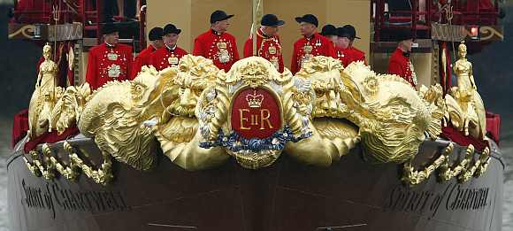 Detail on the front of the Spirit of Chartwell is seen during the Queens Diamond Jubilee Pageant on the River Thames
