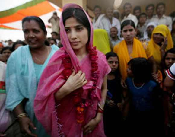 Dimple Yadav during a campaign in Uttar Pradesh