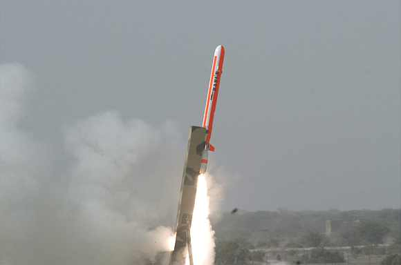 The Hatf VII Babur missile takes off during a test flight by Pakistan