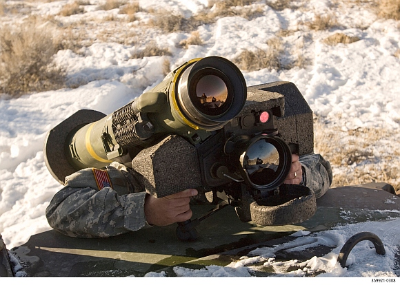 The Javelin missile before being fired