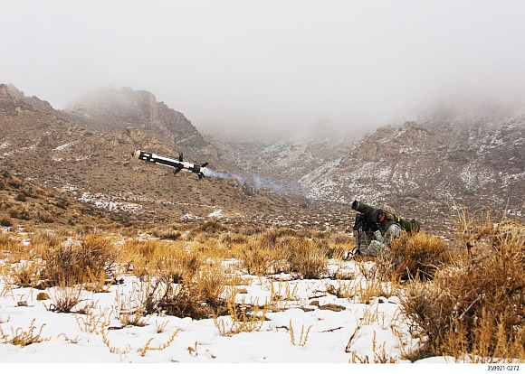 A Javelin missile in action