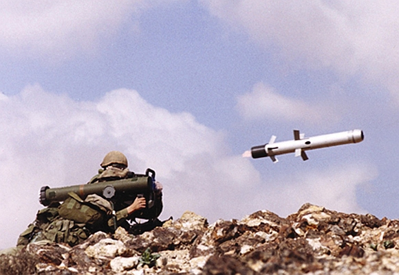 An undated file picture shows an Israeli soldier firing an anti-tank missile Spike-LR, manufactured by an Israeli defence contractor