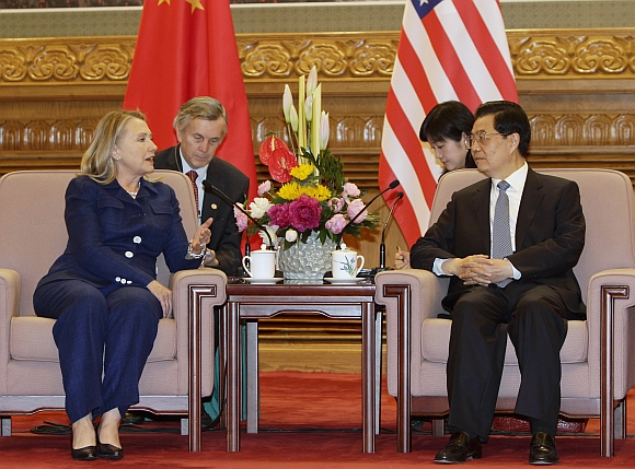 US Secretary of State Hillary Clinton talks to China