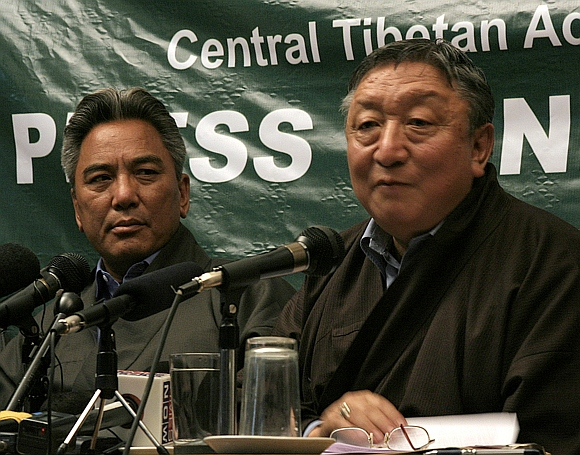 (left to right) Kelsang Gyaltsen and Lodi Gyari, former special envoys of Tibetan spiritual leader, the Dalai Lama, address a news conference after they returned from Beijing, in Dharamsala