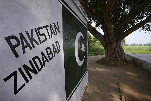 A banyan tree, which Border Security Force officials said grows on the India and Pakistan border in Suchetgarh, is seen southwest of Jammu
