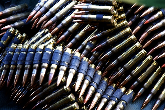 Machine gun ammunition is displayed at the window of a one of the bunkers at the Observing Post Mace in eastern Afghanistan Kunar province, near the border of Pakistan