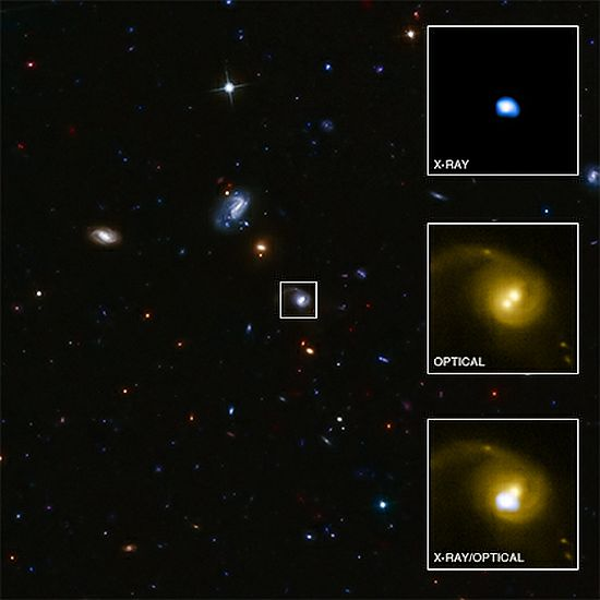 The galaxy at the centre of this image contains an X-ray source, CID-42, with exceptional properties. After combining data from several telescopes -- including NASA's Chandra X-ray Observatory -- researchers think that CID-42 contains a massive black hole being ejected from its host galaxy at several million miles per hour.