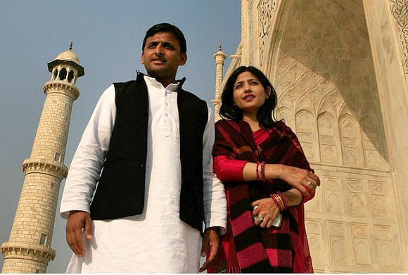 Dimple with her husband and UP Chief Minister Akhilesh Yadav