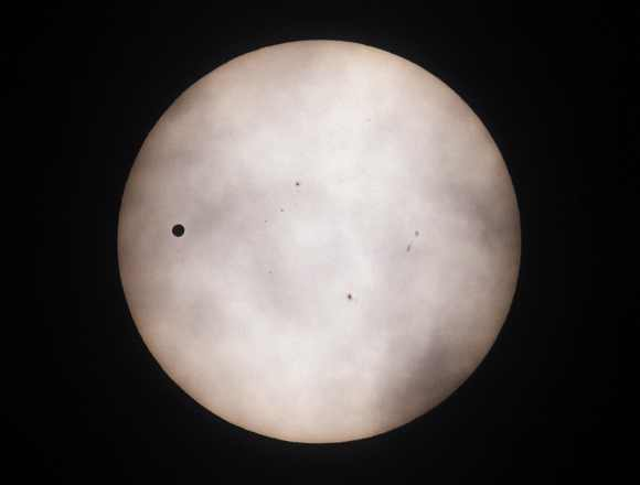 Venus passes across the sun as seen from Gwacheon, south of Seoul, June 6