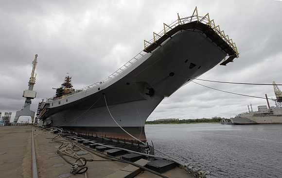 INS Vikramaditya is anchored at Sevmash factory in northern city of Severodvinsk