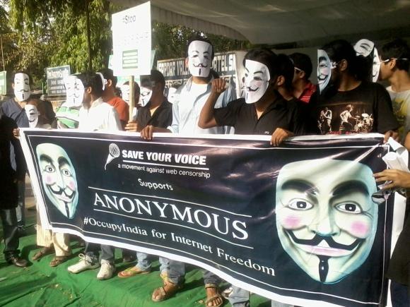'Hacktivists' at Jantar Mantar, Delhi