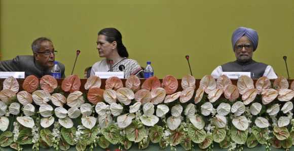 Pranab Mukherjee with Congress President Sonia Gandhi and Prime Minister Manmohan Singh