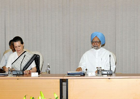 Congress chief Sonia Gandhi with Dr Singh