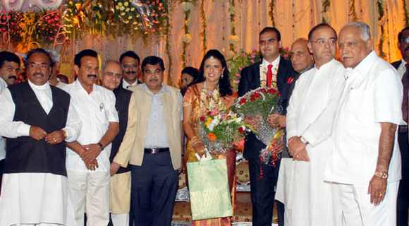 Top BJP leaders at the wedding reception of Yeddyurappa's grand-daughter