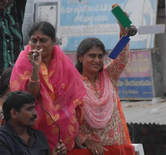 Jgana's mother Vijayamma and sister Sharmila during a campaign at Srikakulam District