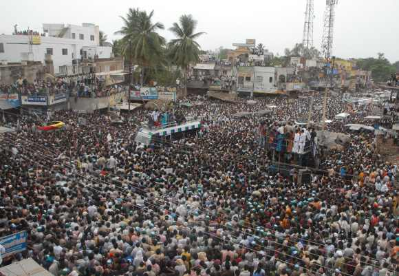 Supporters of YSR Congress gather at a rally addressed by Vijayamma