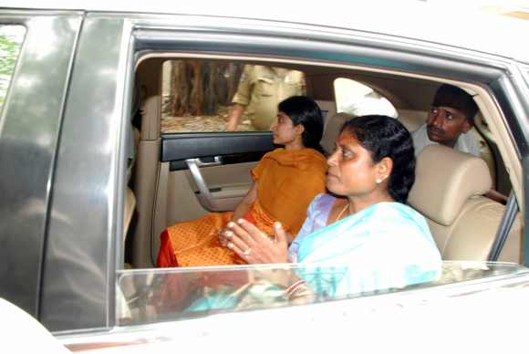 Jagan's wife Bharathi and mother Vijayamma leave the court premises