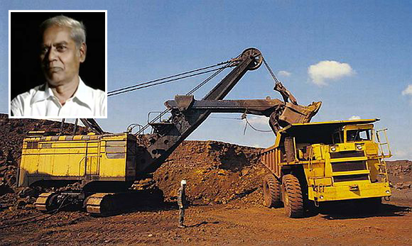 A mining operation in Bellary. (inset) social activist Hiremath