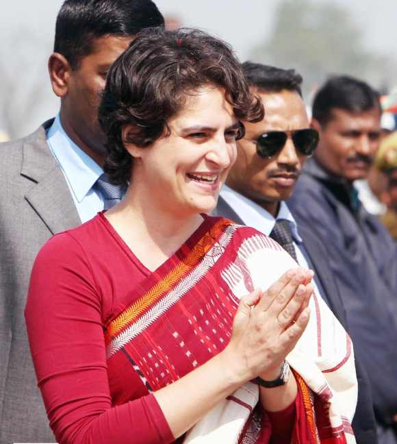 Priyanka Gandhi greets Congress workers in Uttar Pradesh
