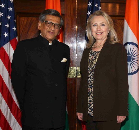 US Secretary of State Hillary Clinton and Foreign Minister S M Krishna at the beginning of the US-India strategic dialogue in Washington, DC on Wednesday