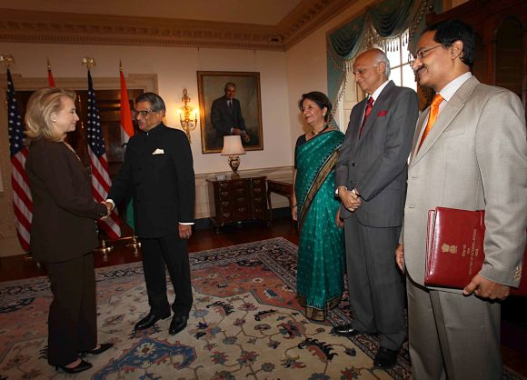 Foreign Minister Krishna greets Hillary Clinton at the beginning of the strategic dialogue in Washington, DC