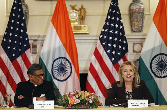 Secretary of State Clinton and Foreign Minister Krishna deliver opening remarks during the US-India Strategic Dialogue in Washington, DC