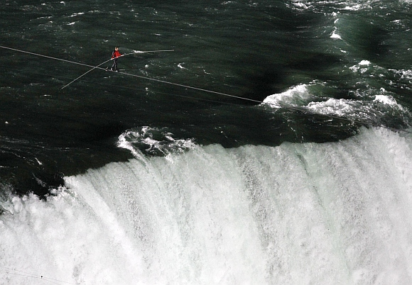 Nik Wallenda walks the high wire
