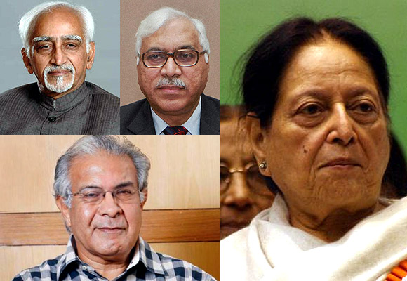 (Clockwise from top left) Vice President Hamid Ansari, former chief election commissioner SY Qureshi, Chairperson of Haj Committee of India Mohsina Kidwai and National Commission for Minorities chairman Wajahat Habibullah