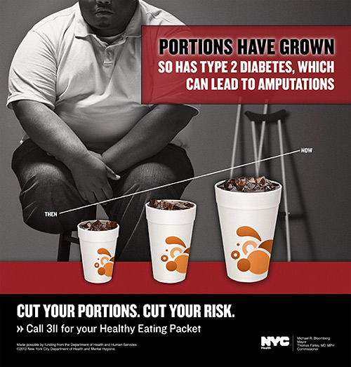 An advertisement to fight obesity created on behalf of the New York City Department of Health