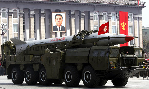 A rocket is carried by a military vehicle during a military parade to celebrate the centenary of the birth of Kim Il-sung in Pyongyang